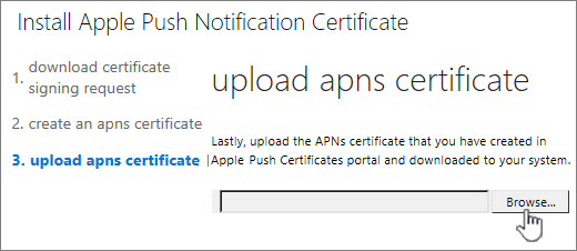 Click the browse button to select APNS cert you downloaded from Apple