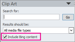 Include Bing content check box