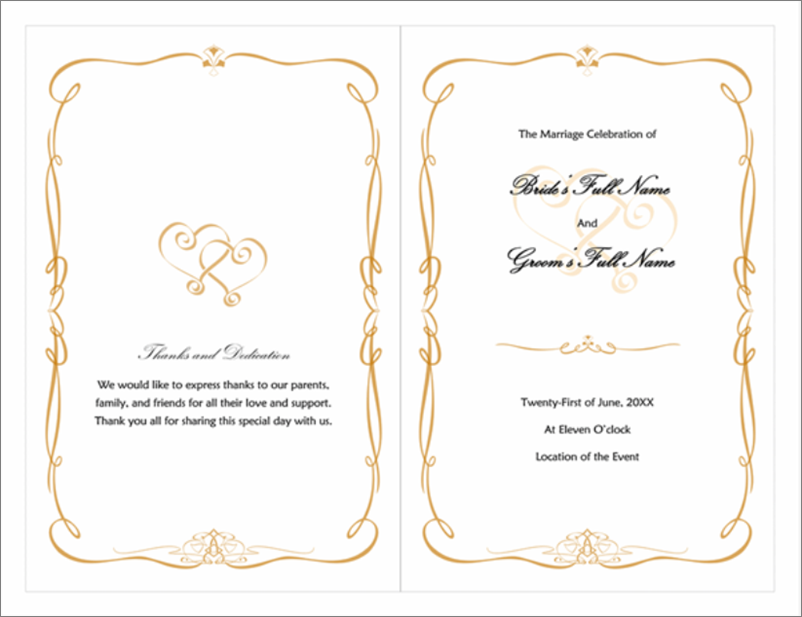 Thumbnail image of wedding program, heart-and-scroll design