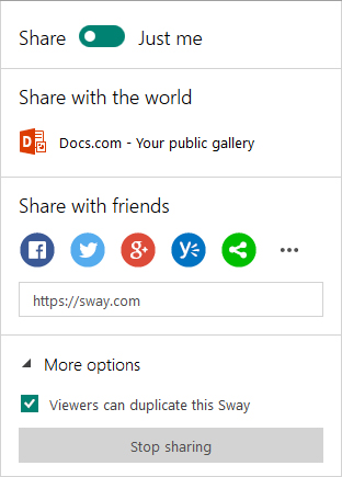 Sharing options in Sway (Microsoft Account)