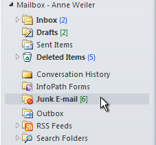 Junk E-mail folder selected in the Navigation Pane