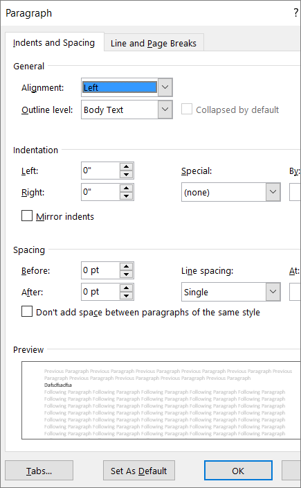 Screenshot of the Paragraph dialog box