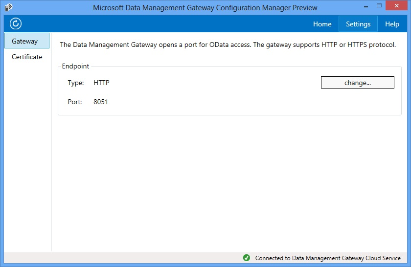 Data Management Gateway Configuration Manager - Settings Tab - Gateway Page