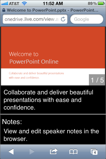 Slides and speaker notes in Mobile Viewer for PowerPoint