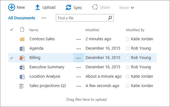 Dialog box of sharepoint document library with several files in it.