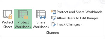 The Protect Workbook button