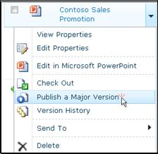 "Document drop-down box in a SharePoint library. ""Publish a major version"" is highlighted."