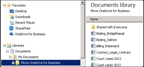 The staging folder after moving files from synced SharePoint OneDrive for Business folder