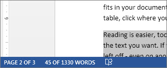 Status bar showing word count of selected text