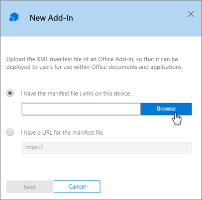 Office 365 New Add-In window