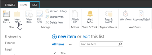 Image of Items ribbon for lists with the New Folder button highlighted