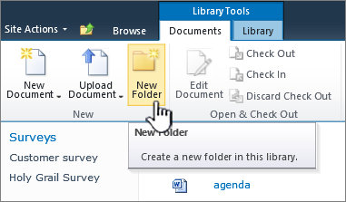SharePoint 2010 documents ribbon with New Folder highlighted