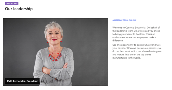 Image of the leadership page in the Department site
