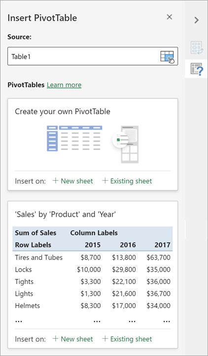 The Insert PivotTable pane lets you set the source, destination, and other aspects of the PivotTable.