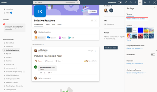 Screenshot showing the full screen for inclusive reactions
