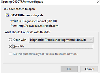 Save O15CTRRemove.diagcab file in Firefox