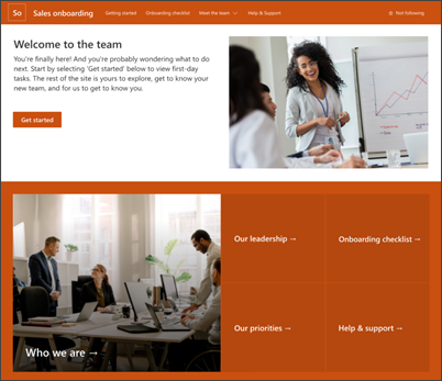 image of the new employee onboarding home page