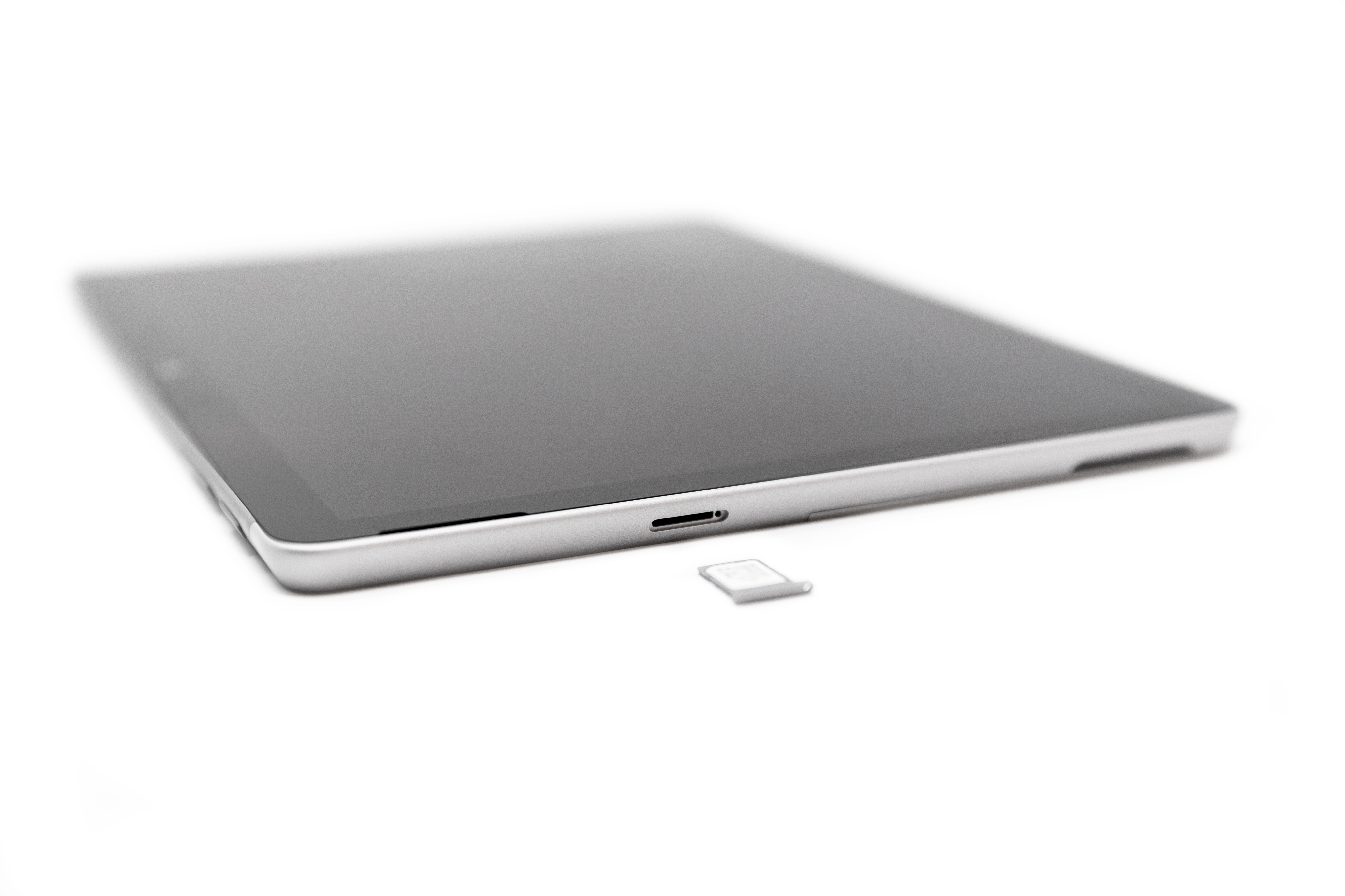 Surface Go 2 with a SIM card placed in the SIM tray.