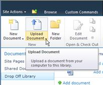 Uploading documents to the Drop off library