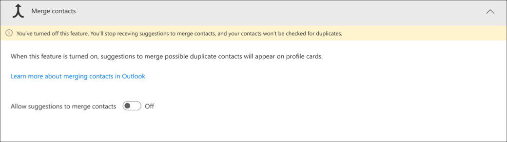 Turn off suggestions to merge contacts