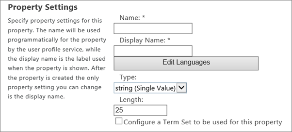 Property settings under User Profile in Admin