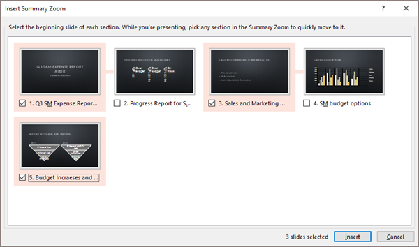 Shows the Insert Summary Zoom dialog in PowerPoint for a presentation without existing sections.