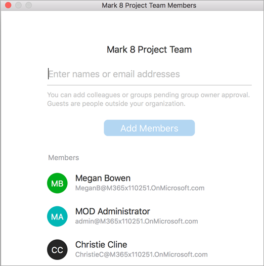 Showing add members within group
