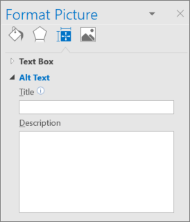 Screen clip of Outlook user interface showing Format Picture Dialog with blank Alt Text Title and Description fields.