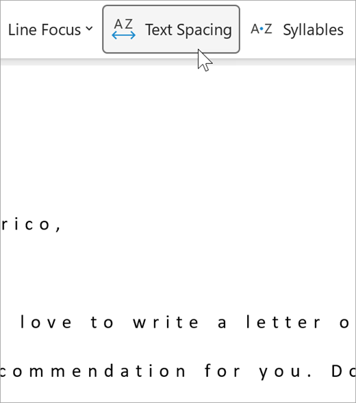 Screenshot of the text spacing option of immersive reader, there is a greater distance between letters and between words