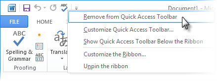 Remove Spelling & Grammar command from Quick Access Toolbar