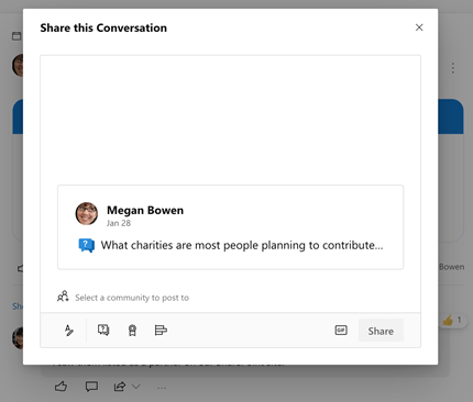 Sharing a conversation in Yammer