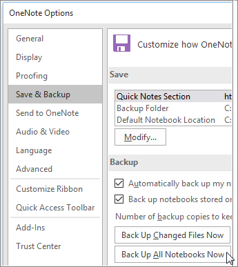 back up notes onenote