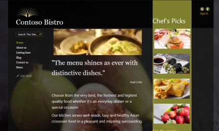 Example Public Website Contoso Bistro
