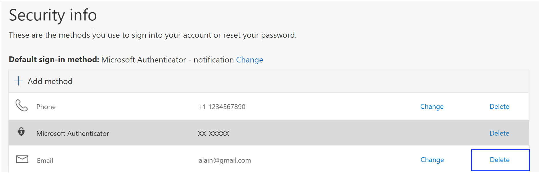 Link to delete the phone method from security info
