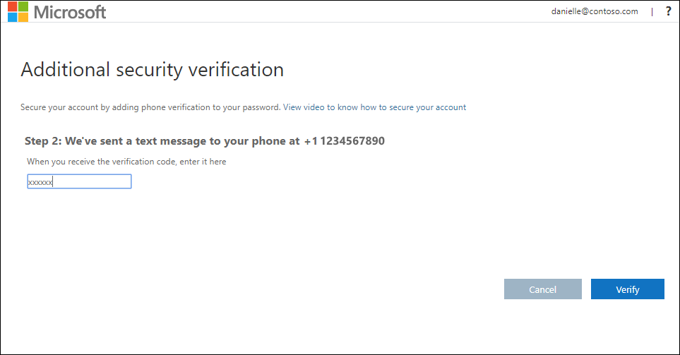 Additional security verification page, with authentication phone and text message