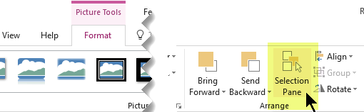 The Selection Pane button is near the right end of the Picture Toosl Format tab on the Ribbon