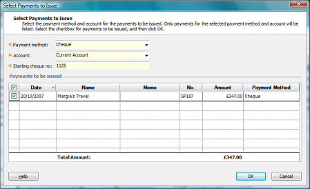 select payments to issue