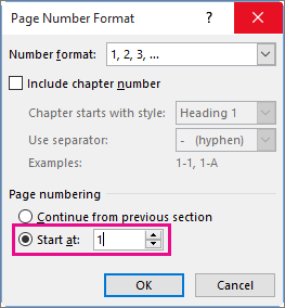 In Page Number Format, set the starting page number in Start at.