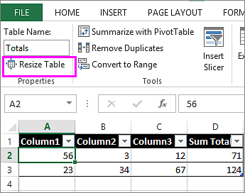 using the resize table option from the Table Tools