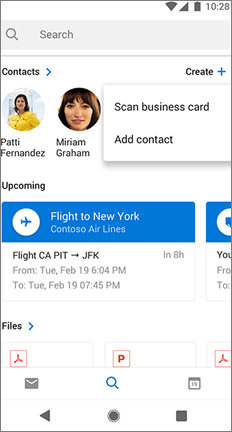 Search screen with a scan business card option next to a contact's name