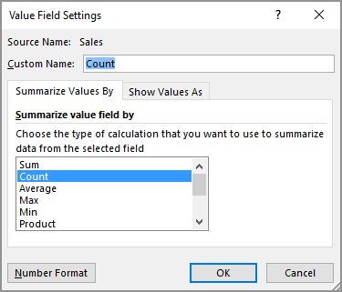 Value Field Settings dialog box