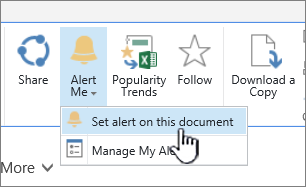 In the Files tab, with Set Alert on this document highlighted