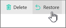 SharePoint Online Restore button highlighted