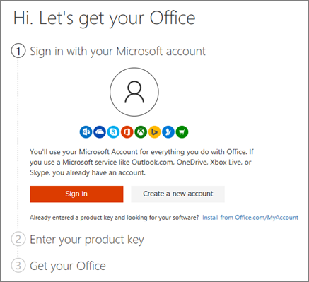 Shows the opening page for setup.office.com