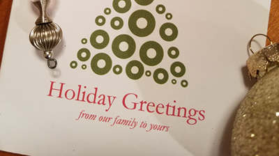 Showing holiday greeting card