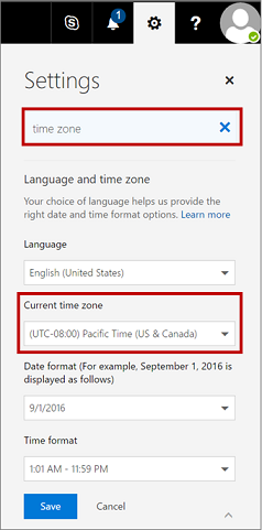 Settings page showing current time zone