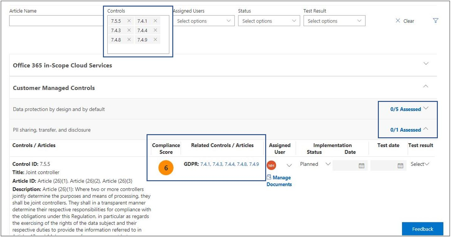 Compliance Manager - Assessment View - Filter controls, none assessed