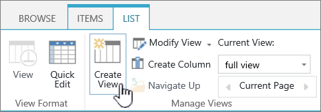 The SharePoint Library Create view  button on ribbon.