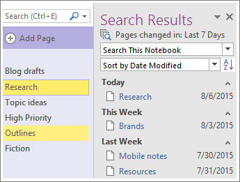 Screenshot of the date range search results in OneNote 2016.