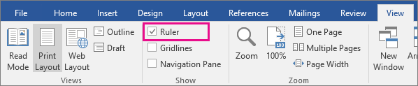 The Ruler option is highlighted on the View tab.